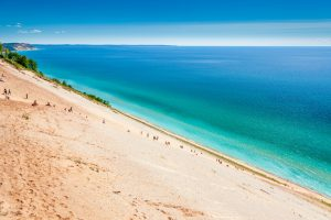 sand dunes on turquoise lakefront Midwest Weekend Getaways