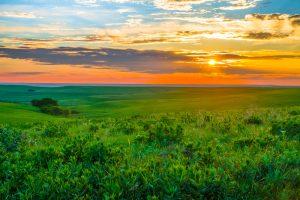 green hills of Flint Hills at sunset Midwest Weekend Getaways