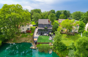 aerial view of brown house by lake best Airbnbs in Columbus