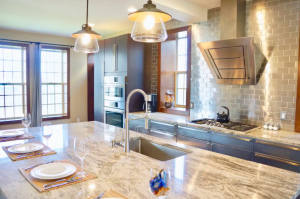 kitchen with marble counter tops best Airbnbs in Columbus