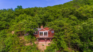red cabin nestled in the trees Airbnbs in Virginia