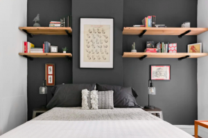 modern bedroom with accent wall and floating shelves Airbnbs in Virginia
