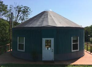 dark colored yurt