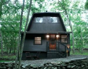 large uniquely shaped black cabin