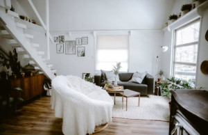 living room with cozy blankets