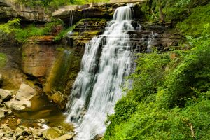 heavy waterfall in Cuyahoga National Parks in the Midwest