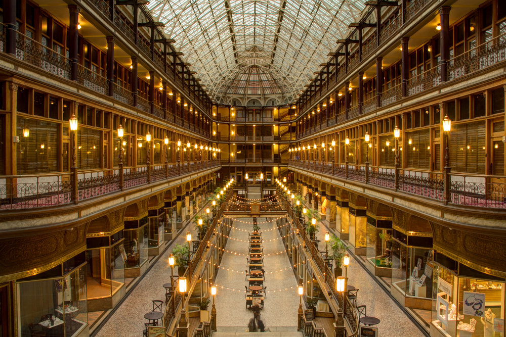 Gleaming Arcade in Cleveland Ohio is one of the romantic places in Ohio to visit