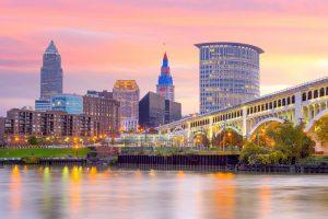 Cleveland skyline at sunset romantic getaways in Ohio