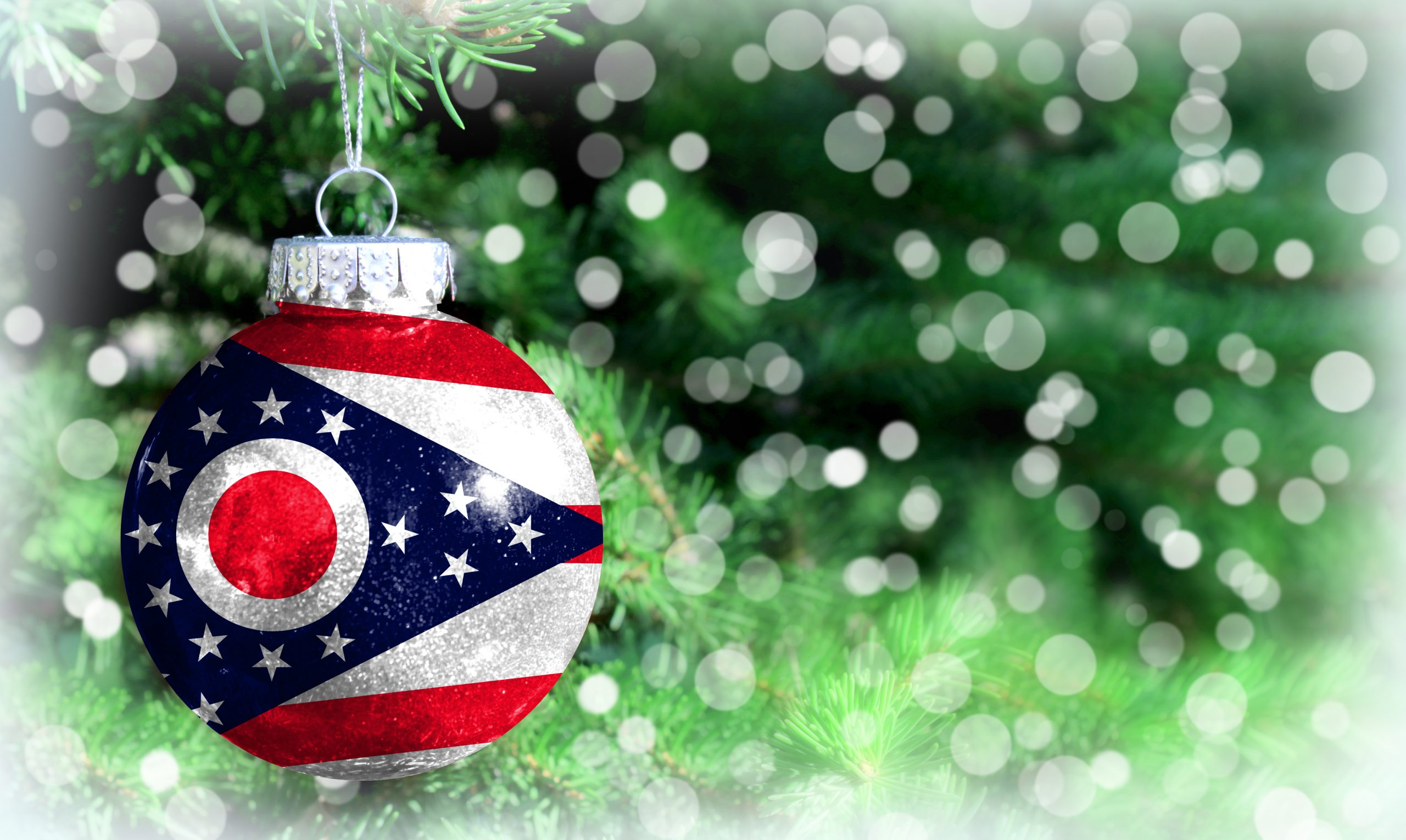 Photo of Ohio ornament with lighted tree in background. This is one of the best Ohio gifts to consider.