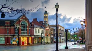 historic buildings of Chagrin Falls on a rainy day