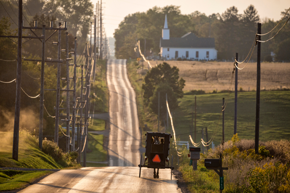 A buggy driving in Amish Country Ohio