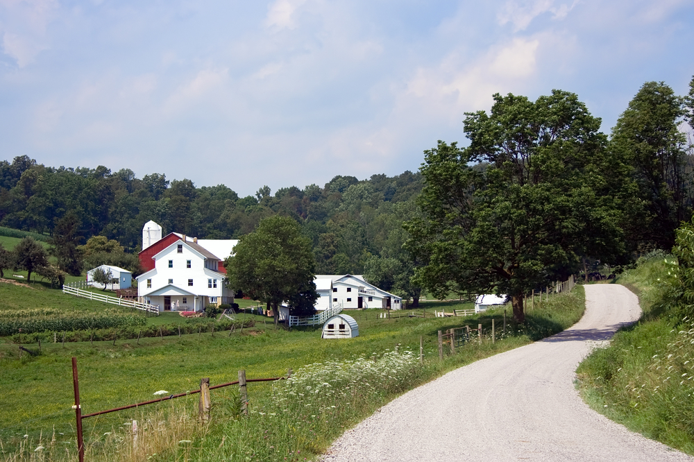 A road with a beautiful view in Amish Country Ohio