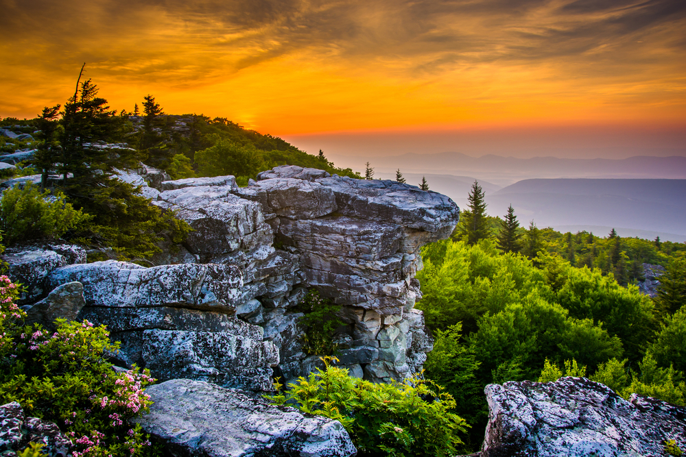 Breathtaking views of West Virginia mountains with sunset sky