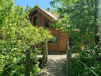Unique octagonal log cabin