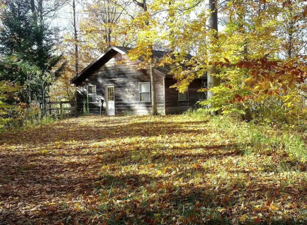 A cabin nestled in the trees while the leaves are changing for fall cabins in Michigan