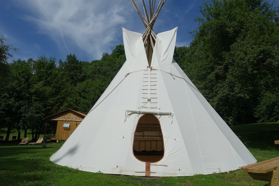 A Sioux style tipi on a private camping site in the woods in Pennsylvania