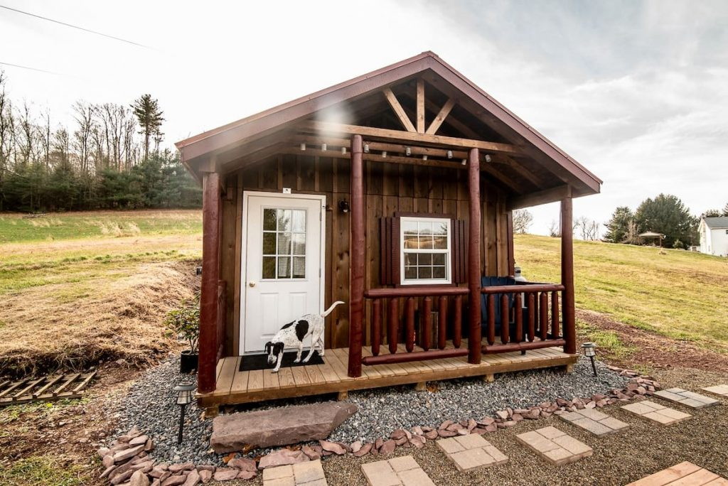 The front of a tiny newly built cabin on a sunny day with a dog on the front porch