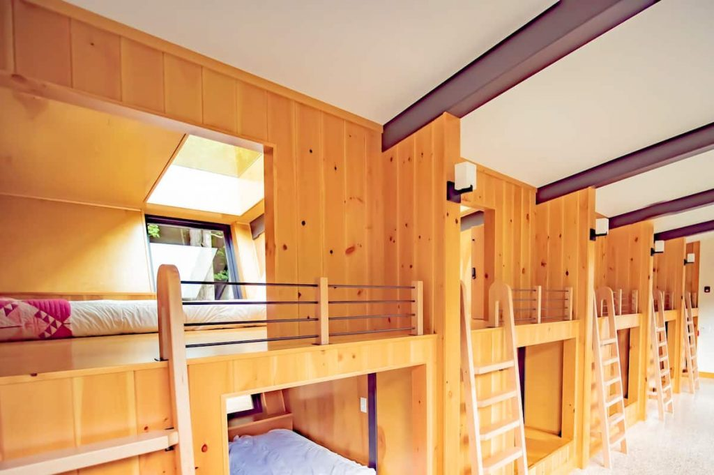 A row of bunk beds in a glamping pod in Pennyslvania