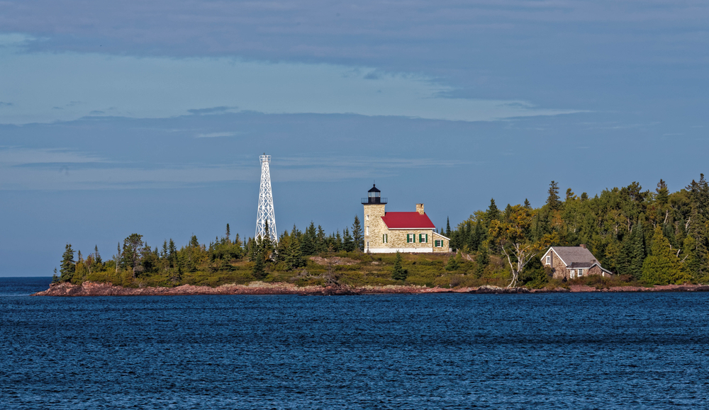 the lighthouse at Copper Harbor onw of the small towns in Michigan