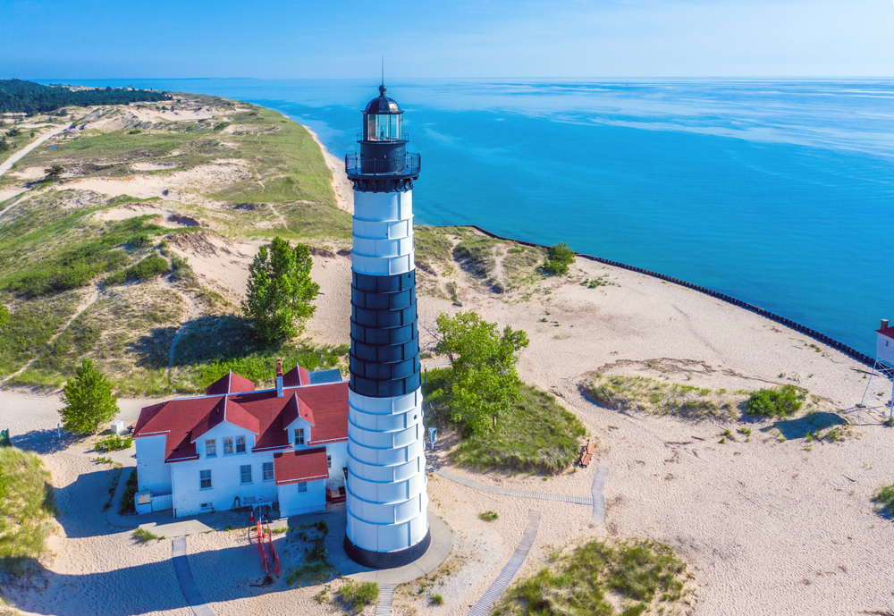 Aerial View Of Big Sable Point Lighthouse Near Ludington Michigan;