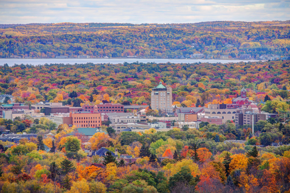 Downtown of Traverse,City, Michigan in the fall