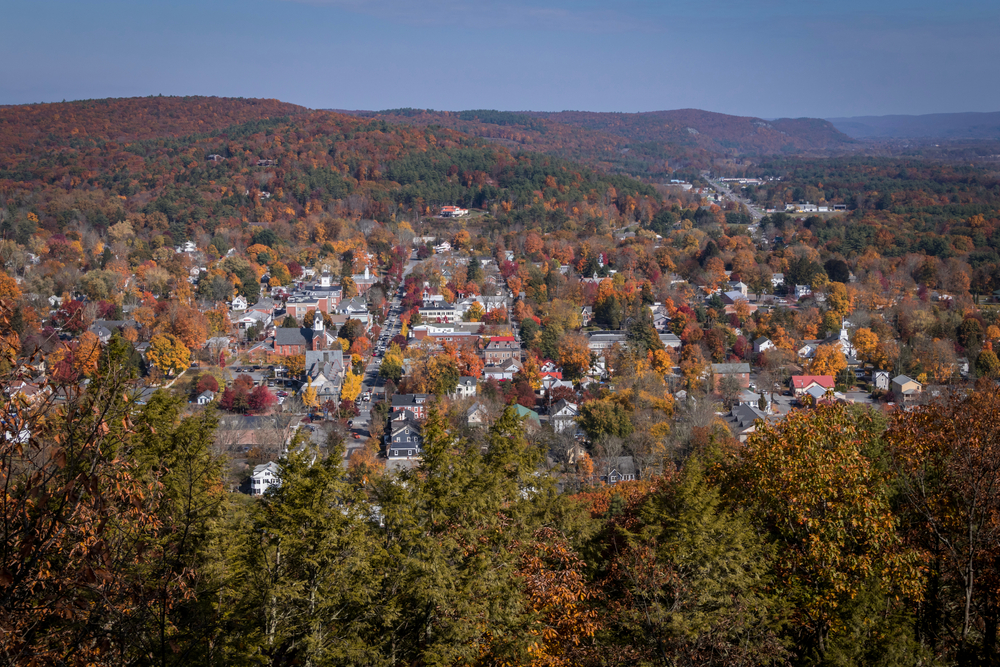 overlooking one of the small towns in Pennsylvania Milford