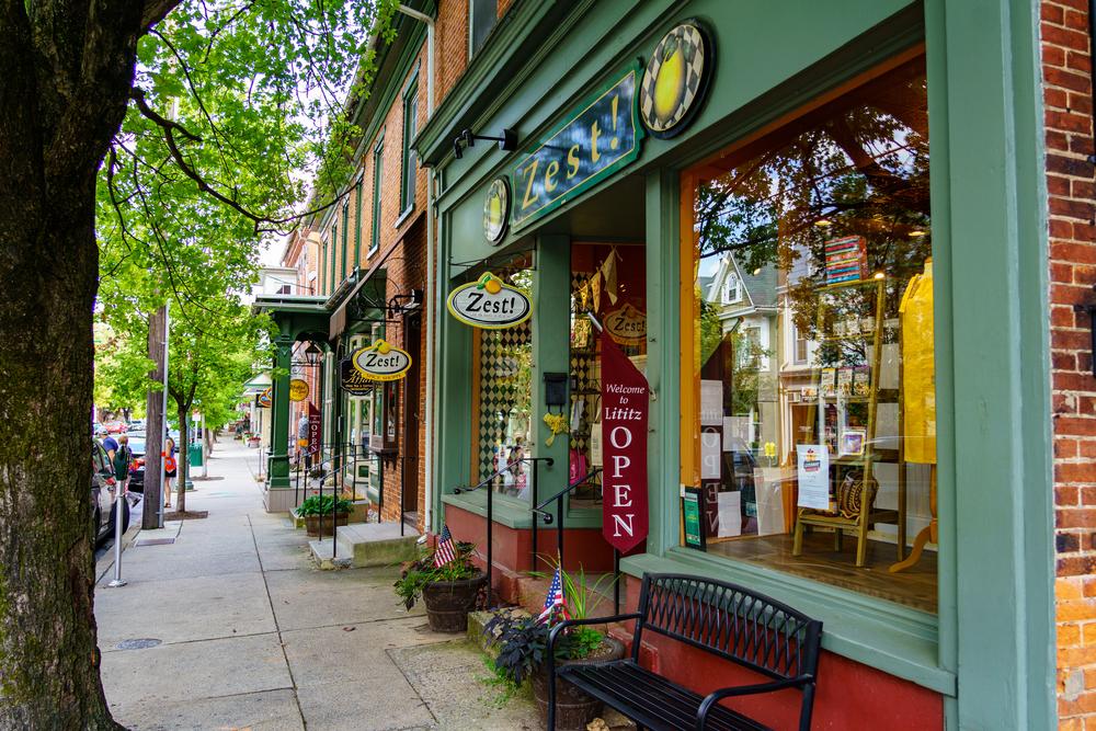 Lititz downtown a small town in Pennsylvania