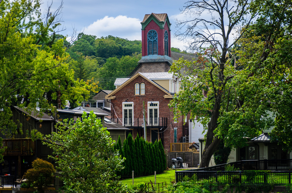 Steeple Building In Historic town in Pennsylvania, New Hope