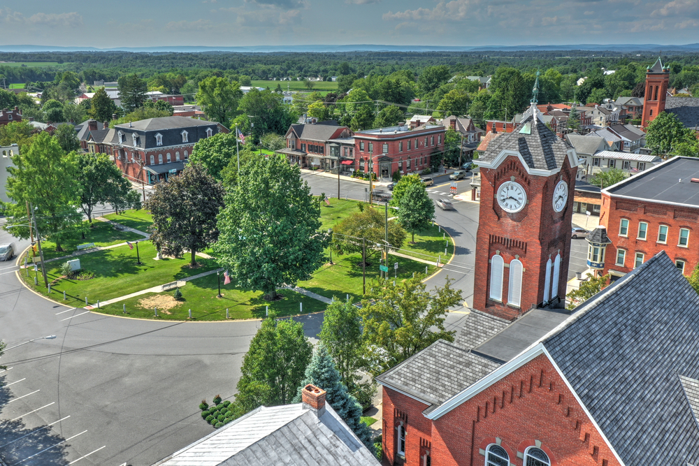 Aerial view of New Oxford one of the small towns in Pennsylvania