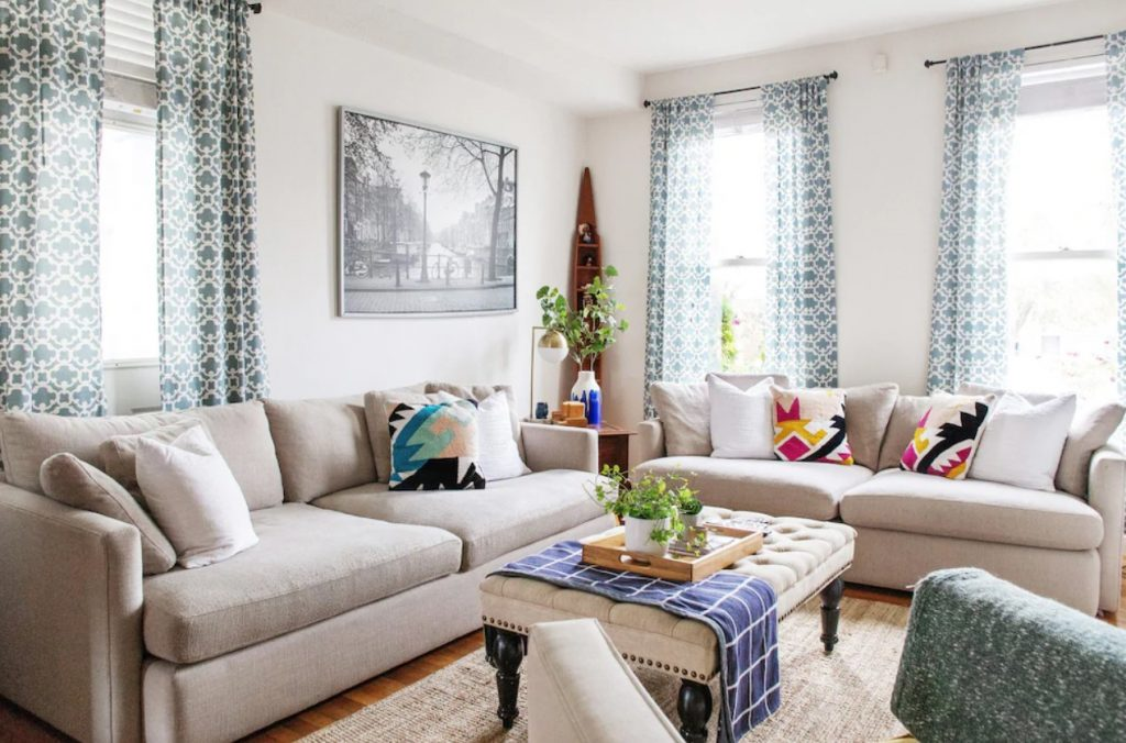 The bright living room of a home in Short North, Columbus, Ohio