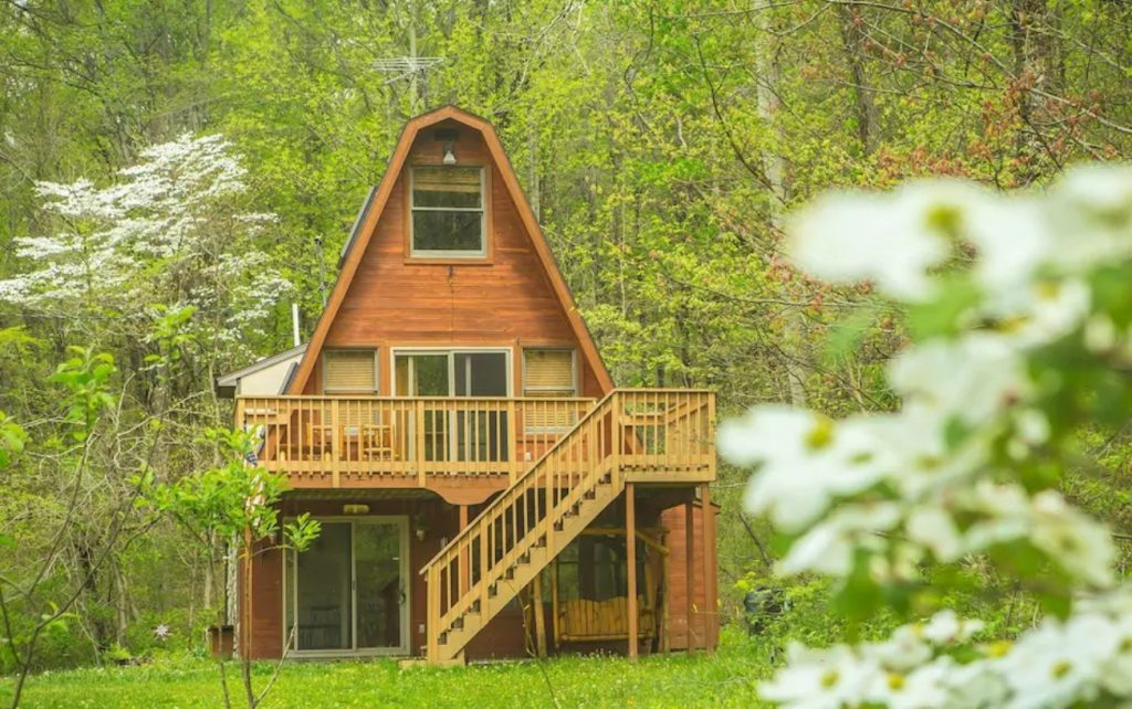 A classic 70's style A-frame cabin in nestled in the woods of Hocking Hills State Park in Ohio