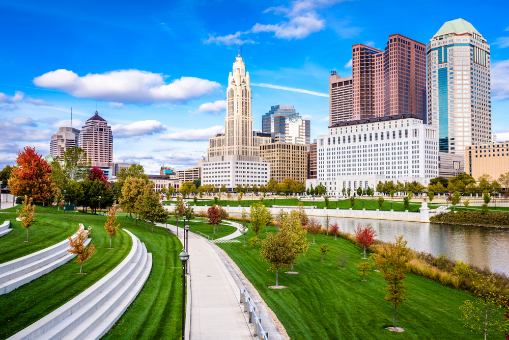 Columbus Ohio's skyline on a sunny day in the early fall