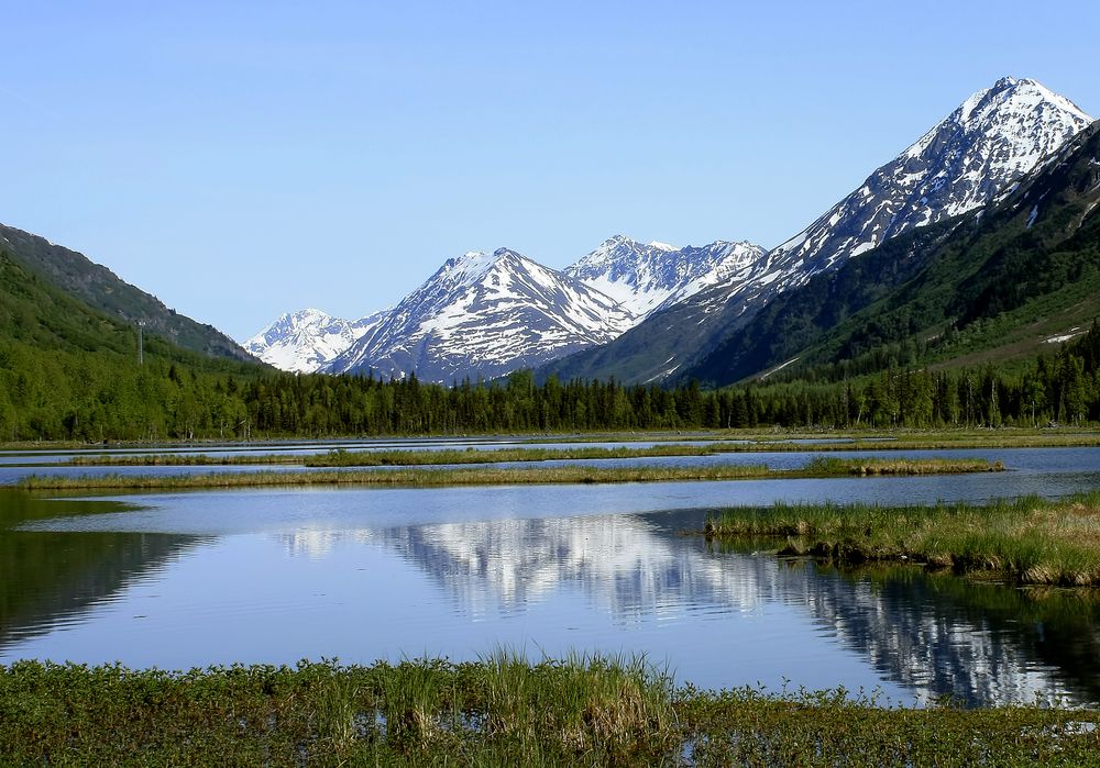 Calm lake with evergreen trees and snowcapped mountains in background. Seward Highway in ALaska.