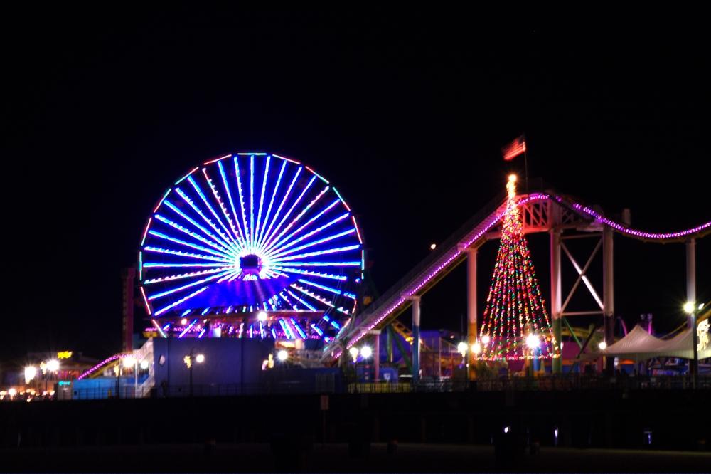 Santa Monica pier lit up with a Christmas Tree