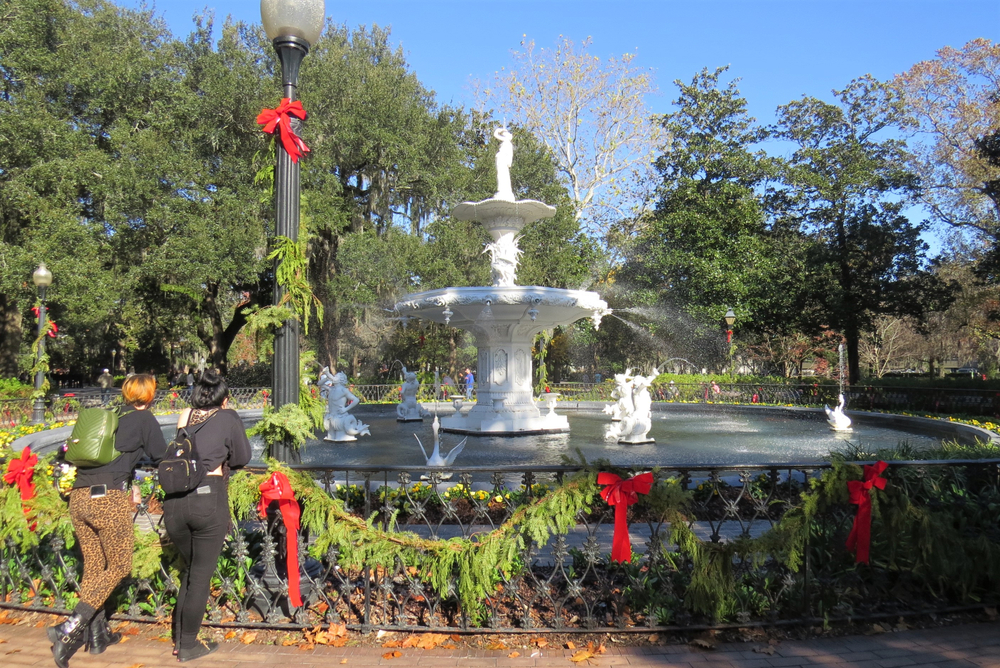 Fountain in Forsyth Park Savannah covered in Christmas decorations