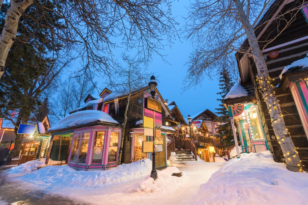 Beautiful wooden cabins in Breckenridge Colorado one of the Christmas vacations in the USA