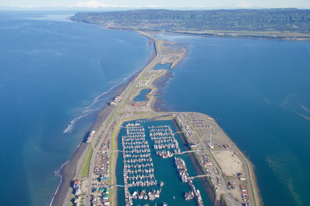 Drone photo of spit of land surrounded by blue water marina with many boats in middle. thing to do in Homer
