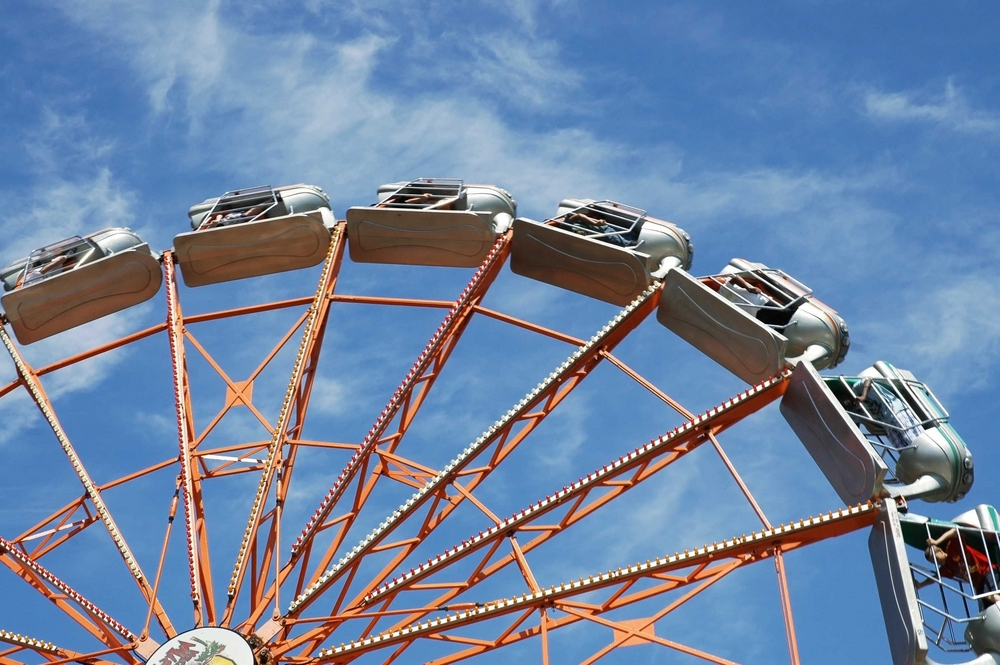 A silver rocket Ferris Wheel at Kennywood, an old amusement park outside of Pittsburgh.
