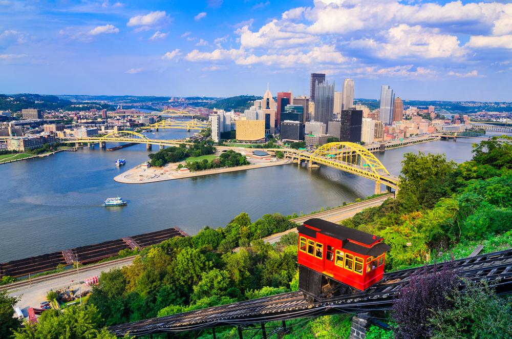 The view of the Pittsburgh skyline from the Monongahela Incline. It is a box car ride up the side of a mountain. You can see another box car going up the mountain in the picture as well. Its one of the best things to do in Pittsburgh.